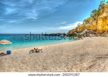 view of Cala Biriola in hdr tone, Sardinia - stock photo