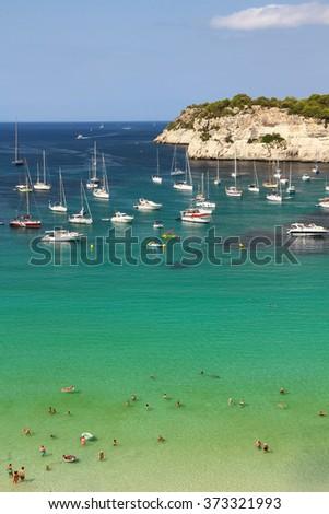 View of Cala Galdana beach. Menorca, Balearic Islands, Spain - stock photo