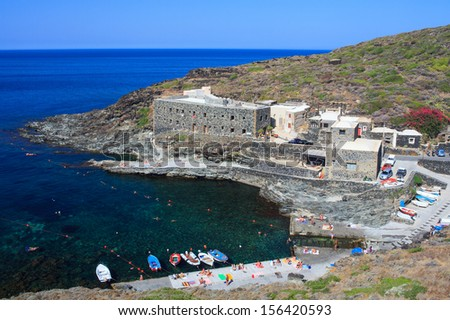View of Cala Tramontana in Pantelleria, Sicily - stock photo