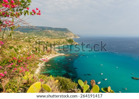 View of Calabrian shore line from Capo Vaticano, Italy. - stock photo