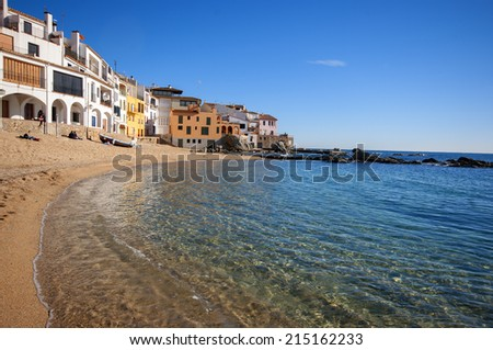 View of Calella de Palafrugell beatiful village in the Costa Brava.Catalonia.Spain - stock photo