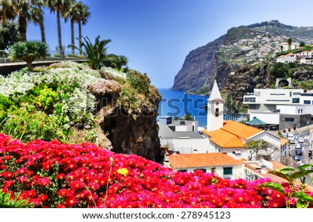 View of Camara de Lobos, small fisherman village on Madeira island - stock photo