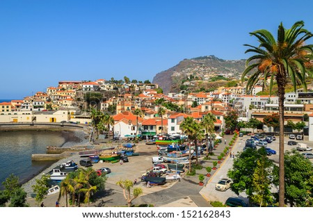 View of Camara de Lobos town with palm tree in the foreground in south of Madeira island, Portugal - stock photo