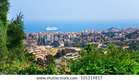 view of Cannes city and Azure Coast, France - stock photo