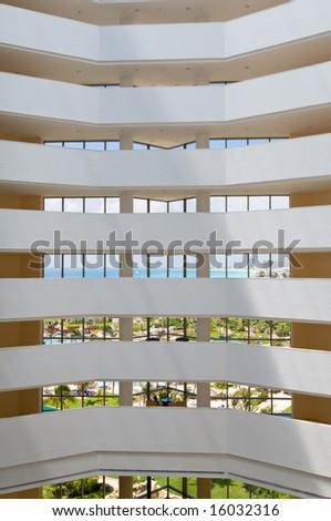 View of caribbean tropical resort through hotel windows - stock photo