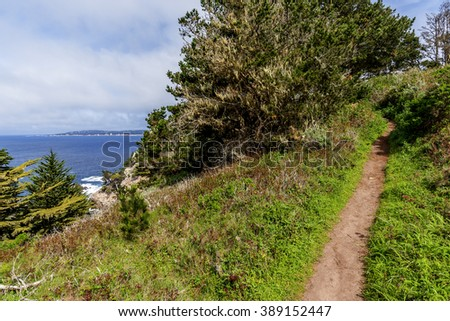View of Carmel Bay, on a crisp spring morning, Cypress trees, blue sea & sky, & unusual rock and geological formations, as seen from the Whaler's Knoll Trail, at Point Lobos State Natural Reserve. - stock photo