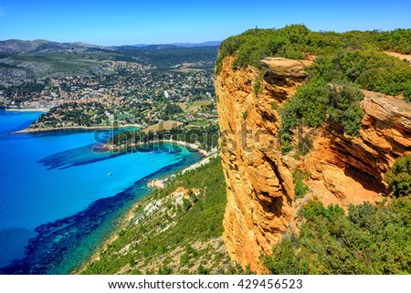 View of Cassis town, Cap Canaille rock and Mediterranean Sea from Route des Cretes mountain road, Provence, France - stock photo