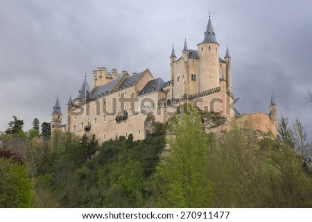 View of Castle Alcazar of Segovia in Castille and Leon, Spain - stock photo