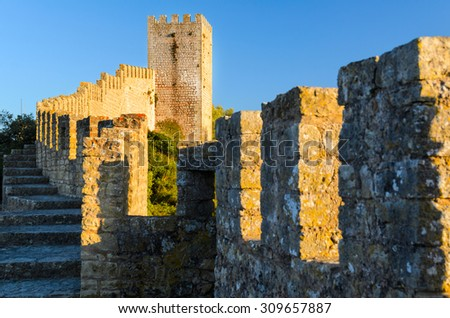 view of castle in Obidos, Portugal - stock photo