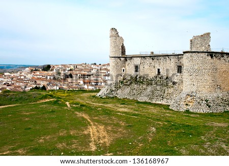 View of castle of the Counts XV century in Chinchon near of Madrid - stock photo