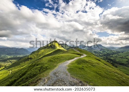 View of Catbells hill top in Lake District, England. - stock photo