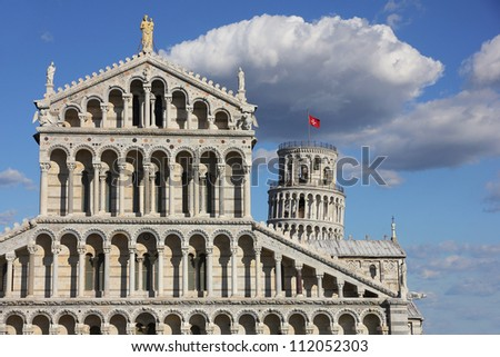 View of cathedral and tower in Pisa, Italy - stock photo