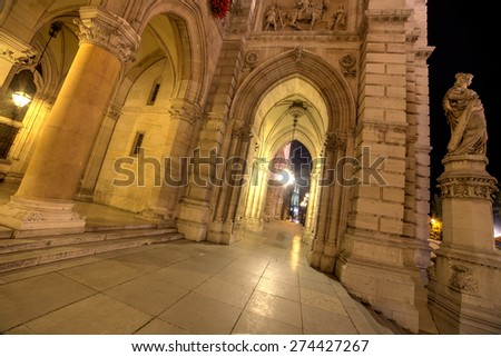 VIew of Cathedral in Vienna at night. - stock photo