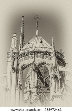 View of Cathedral Notre Dame de Paris - a most famous Gothic, Roman Catholic cathedral (1163 - 1345) on the eastern half of the Cite Island. Paris, France. Antique vintage.  - stock photo
