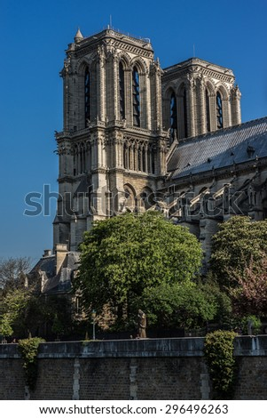 View of Cathedral Notre Dame de Paris - a most famous Gothic, Roman Catholic cathedral (1163 - 1345) on the eastern half of the Cite Island. - stock photo
