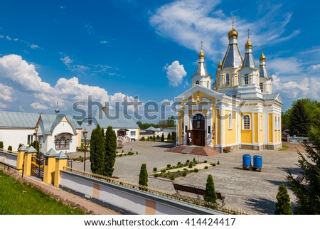 View of Cathedral of St. Alexander Nevsky in Kobrin city, Belarus - stock photo