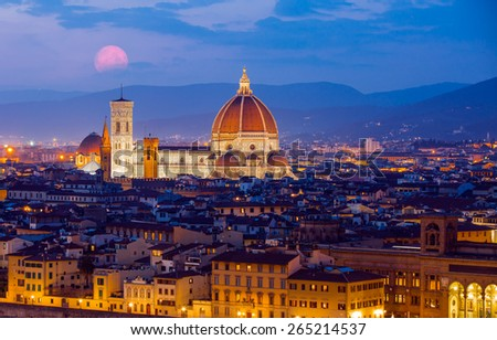 View of Cathedral Santa Maria del Fiore in Florence, Italy - stock photo
