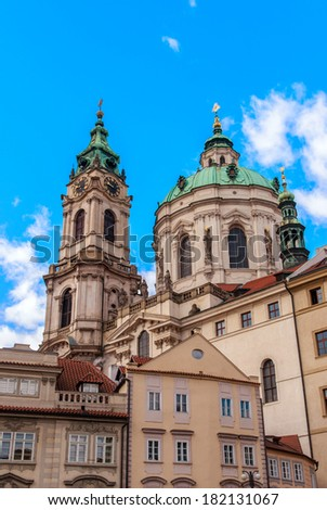 View of center of Prague from the grounds of Saint Nicholas Cathedral, Czech Republic - stock photo