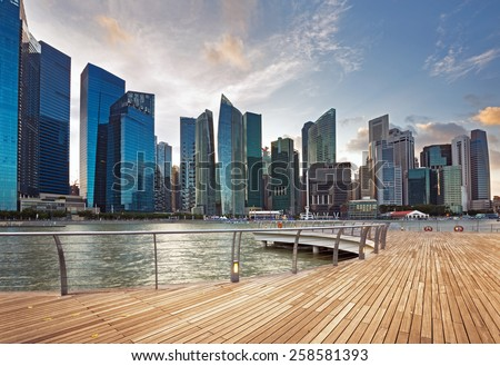 view of central business district in Singapore  - stock photo