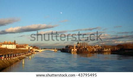 View of Chalon sur Saone (France). - stock photo