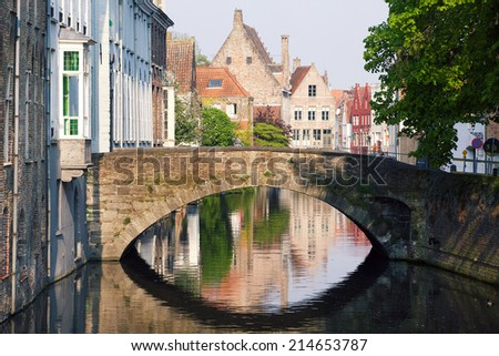 View of channels of Bruges in Belgium - stock photo