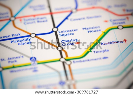 View of Charing Cross station on a London subway map. - stock photo