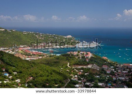 View of Charlotte Amalie and St. Thomas Harbor - stock photo