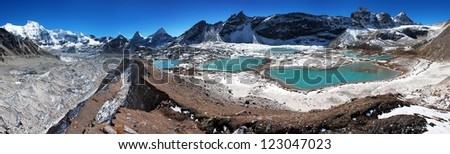 view of Cho Oyu base camp with lakes - Everest trek - Nepal - stock photo