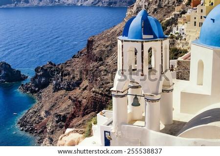 View of church on the seashore, the city of Oia, Santorini's island/ Church at the Sea - stock photo