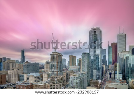 View of city center nice sky of Toronto, Canada - stock photo