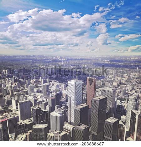 View of city center of Toronto, Canada.  - stock photo
