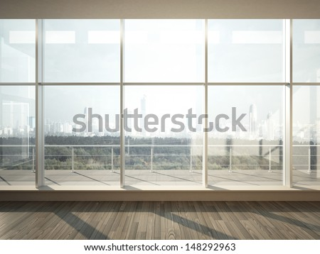 view of city from wide window - stock photo