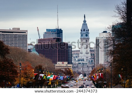 View of City Hall and other buildings in Philadelphia, Pennsylvania. - stock photo