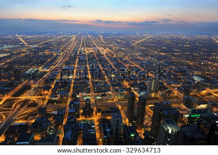 View of city of Chicago from the air toward the west - stock photo