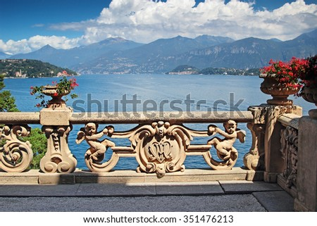 View of classic terrace in the park of villa Balbianello, Como lake, Italy. - stock photo