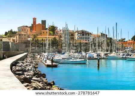 View of coastal town of Talamone. Grosseto region, Tuscany, Italy - stock photo