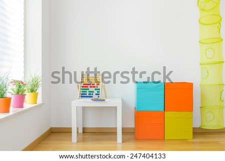 View of colorful furniture in children room - stock photo