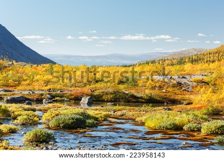View of colorful northern taiga forest with rocky glade behind a freshwater lake in Malaya Belaya river valley, Hibiny mountains above the Arctic Circle, Russia - stock photo