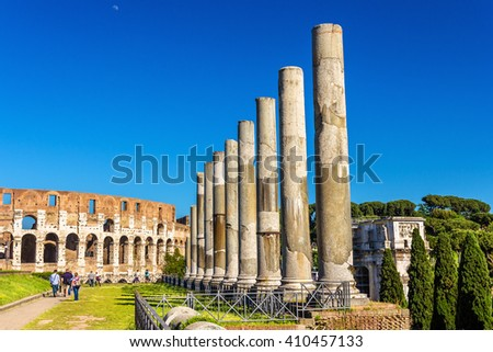 View of Colosseum from Temple of Venus and Roma - Italy - stock photo
