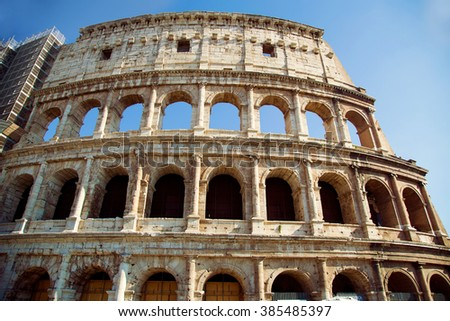 View of Colosseum in Rome, Italy during the day - stock photo