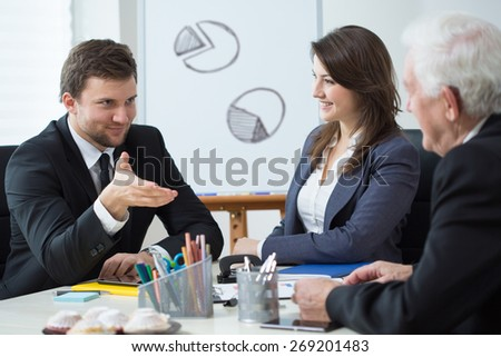 View of company management during business meeting - stock photo