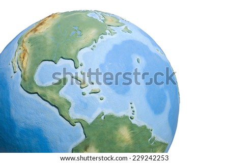 View of concrete model of Earth globe - Americas - stock photo
