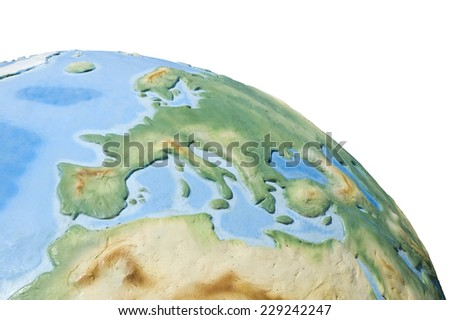 View of concrete model of Earth globe - Europe - stock photo