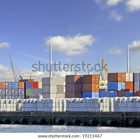 View of containters in a harbour - stock photo