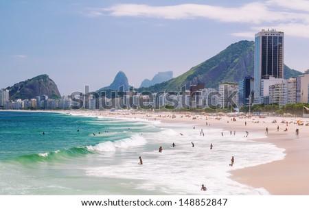 view of Copacabana beach in Rio de Janeiro. Brazil - stock photo