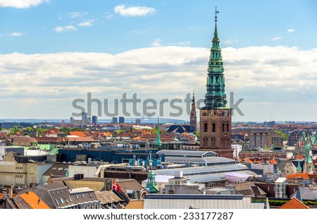 View of Copenhagen from The Round Tower - stock photo