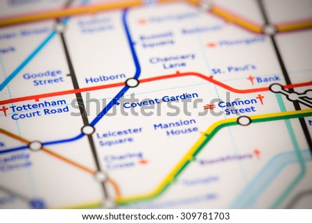 View of Covent Garden station on a London subway map. - stock photo