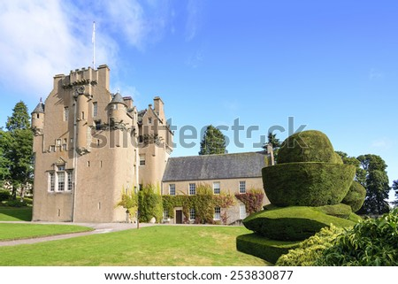 View of Crathes Castle in Scotland. Crathes is a 16th-century castle near Banchory in the Aberdeenshire region of Scotland. The castle and grounds are open to the public. - stock photo