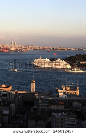 View of cruise ship in Golden Horn, Istanbul, Turkey - stock photo