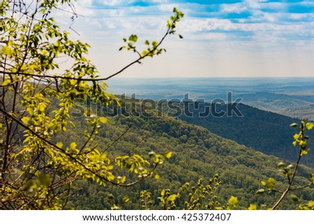 View of Cumberland Mountains and valley from overlook at Frozen Head State Park - stock photo